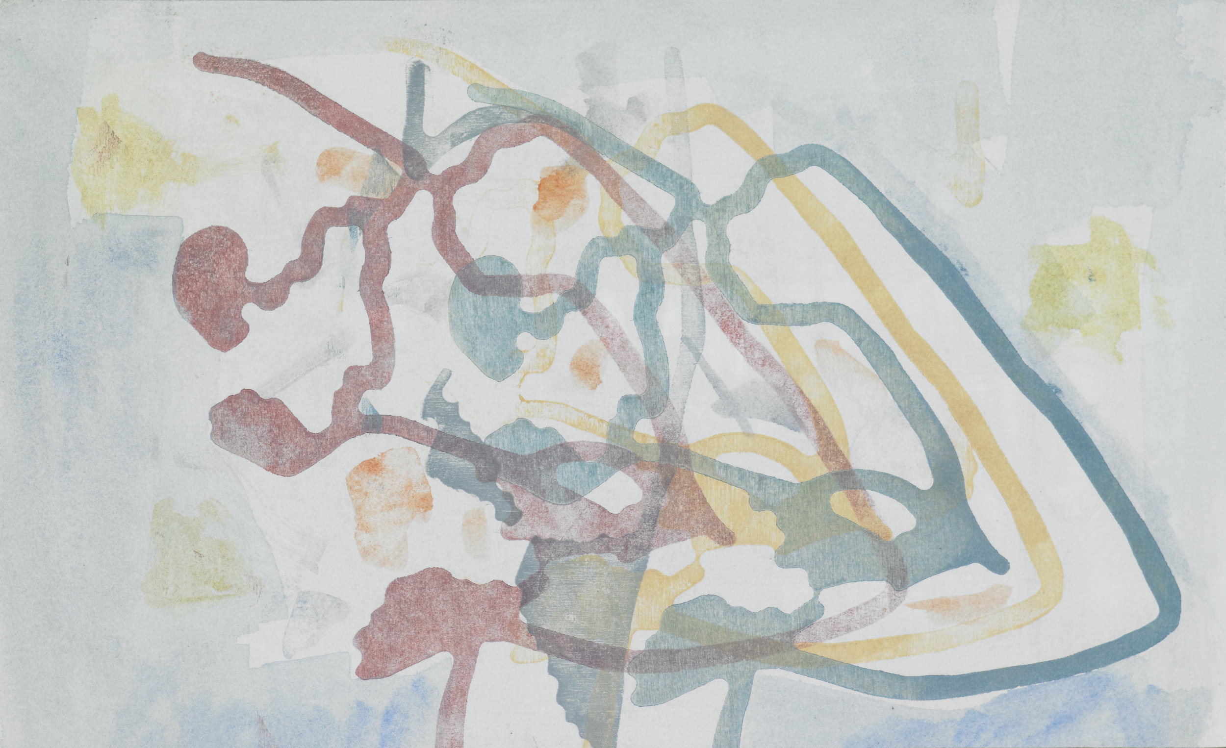 Fresco, monoprint on paper on panel, 2016
