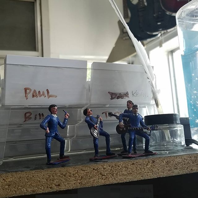 Can't remember who I got these from, but I'm pretty sure they're from the 60's. . . . . . #Beatles #vintage #figures #stonegroveguitar