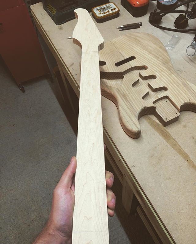 Neck started with custom headstock. #wiredogguitars #luthier #luthery #guitar #guitarporn #handtools #woodworking #madeincornwall #madebypeoplenotrobots