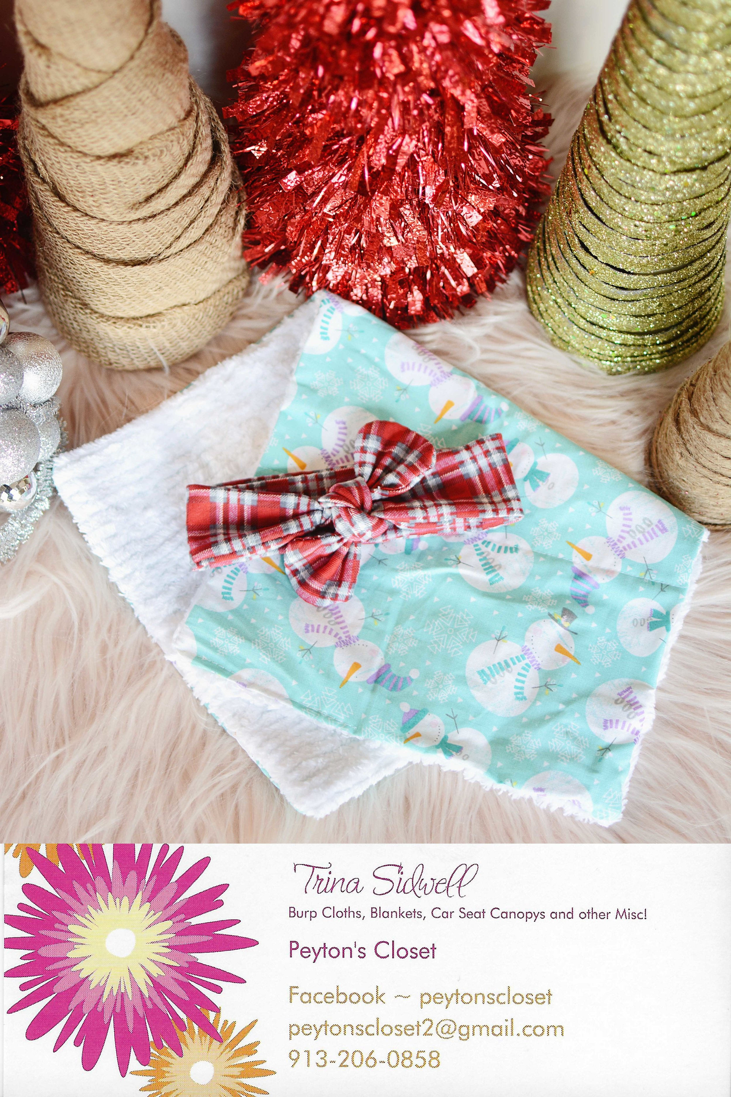 What's in the bag: Plaid Knot Tie Headband (Size 0-3 Month) and Snow Man burp cloth