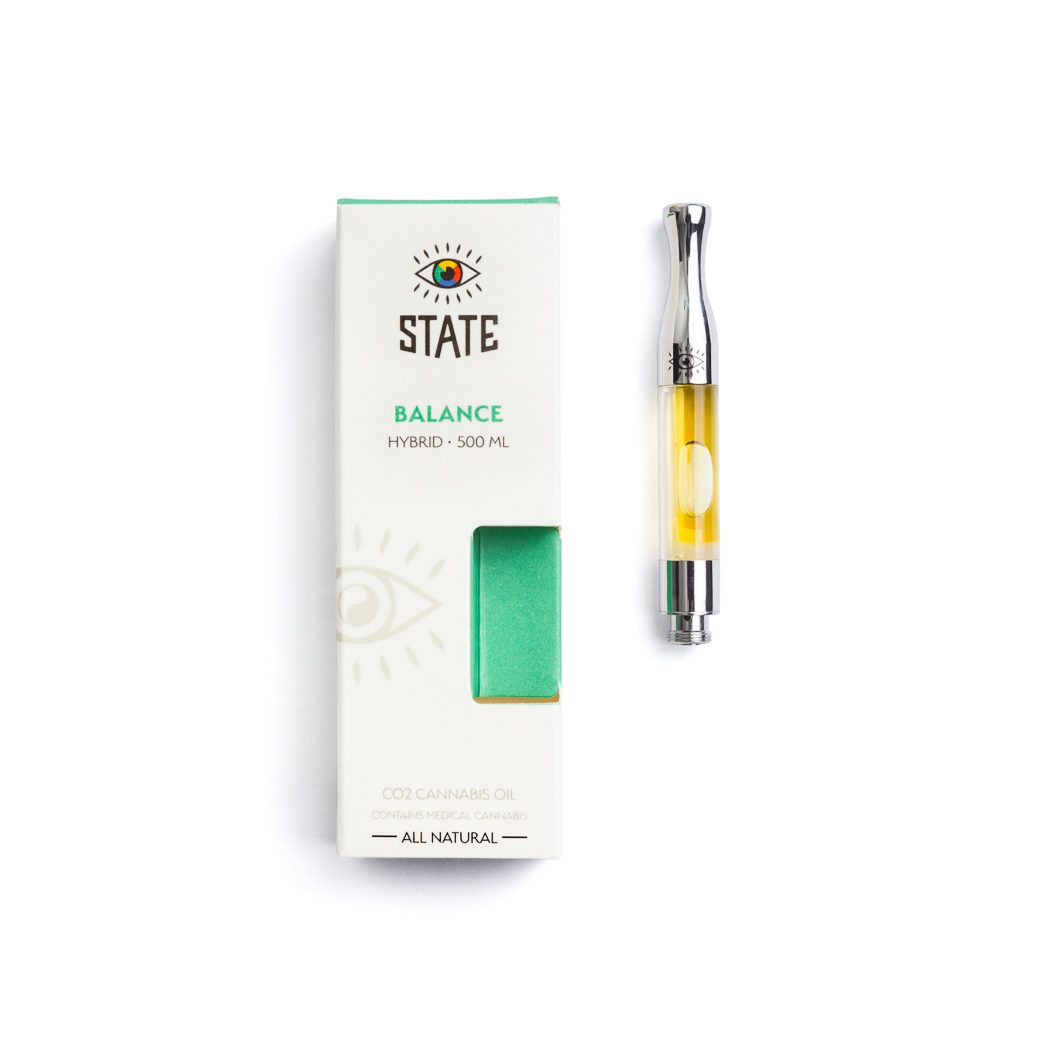 STATE BALANCE - HYBRID   Achieve a STATE of balance and relieve tension with this stimulating hybrid blend made from premium CO2 oil extracted from top-shelf cannabis grown in California. Find your STATE with this cartridge that works with any vape battery.
