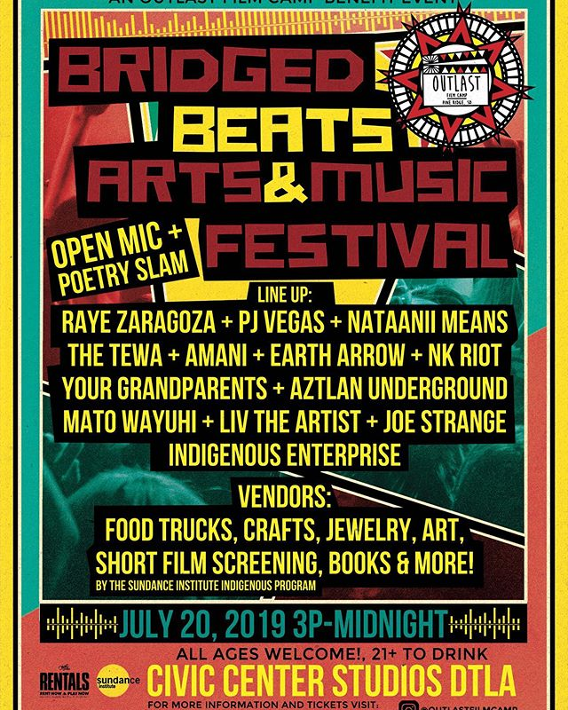 So excited to be a part of @outlastfilmcamp's Bridged Beats Arts & Music Festival tomorrow! If you're looking for something to do tomorrow in LA, there's going to be ~Indian tacos~ and a killer lineup, all benefiting Outlast's program to empower ethnically and culturally diverse students with filmmaking. Tickets are $15 if you get them today, so get tomorrow's plans settled!  @guitarcencter @rayezaragoza  @amaniyours  @liv_theartist  @therealpjvegas  @matowayuhi  @nataanii_means  @thetewaofficial  @eartharrowmusic  @nkriot  @indigenousenterprise  @aztlanunderground @yourgrandparents @civiccenterstudios