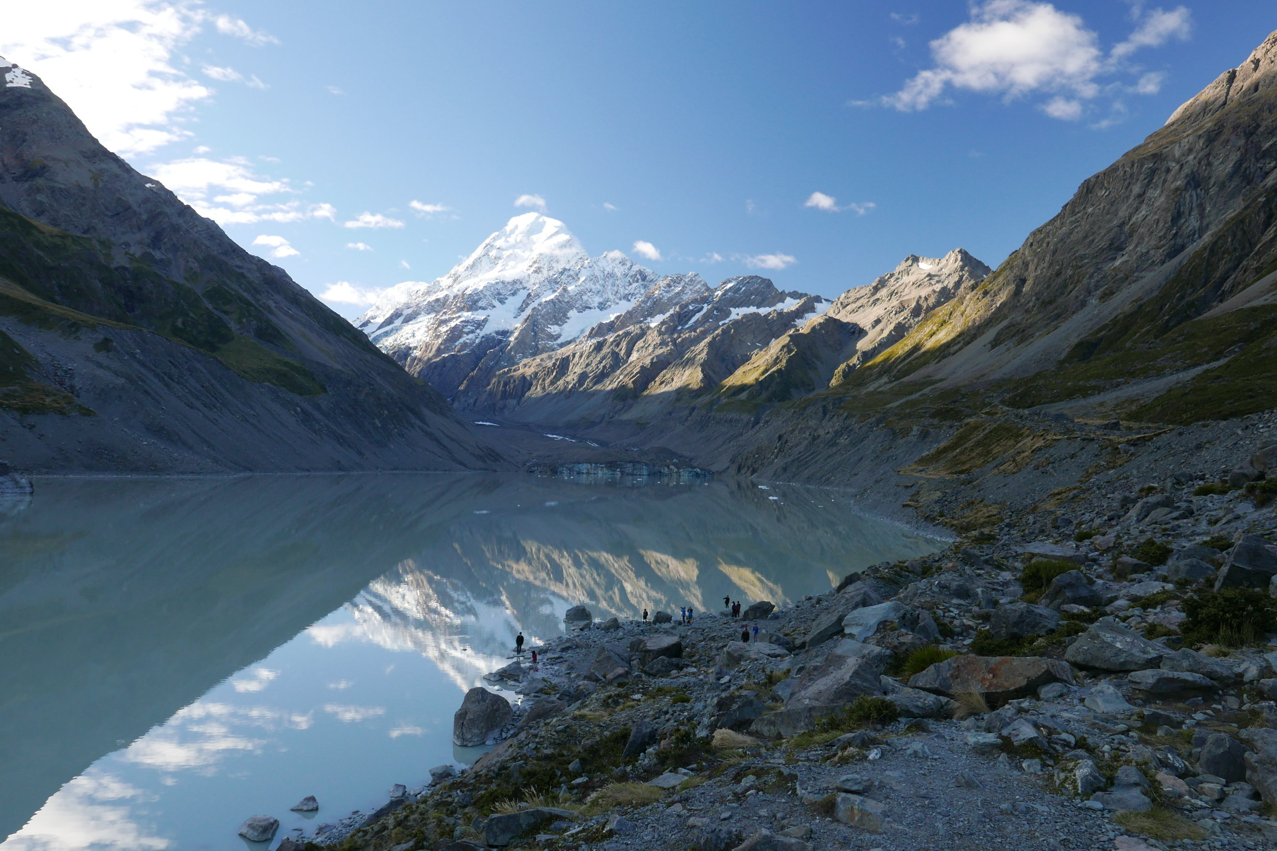 You can see our original plan destination (Mount Cook) in the background.