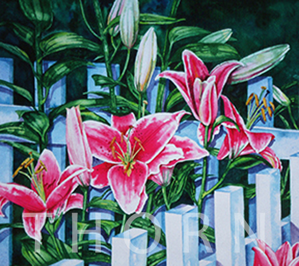 "STARGAZERS    Click on image for size and material options.   Prints Available From $39 - $165  Watercolor, 20""w x 15""h  Original Art Sold  2001  Artist: Karen Thornberg"