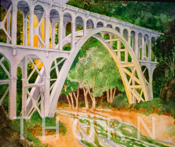 """CAPE CREEK BRIDGE    Click on image for size and material options.   Prints Available from $76 - $195  Authentic Watercolor on Archival Paper, 15""""W x 15""""H  Original Art Sold  1999  Artist: Karen Thornberg"""