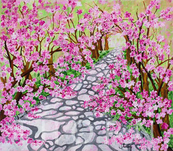 """CHERRY BLOSSOMS    Click on image for size and material options.   Prints Available from $36 - $350  Acrylic on Canvas 30""""W x 26""""H  Original Art Sold  2017  Artist: Karen Thornberg"""