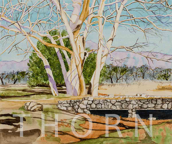 """VERDE VALLEY    Click on image for size and material options.   Prints Available from $45 - $310  Authentic Watercolor on Archival Paper, 19""""W x 16""""H  Original Art for Sale $1,300  2000  Artist: Karen Thornberg"""