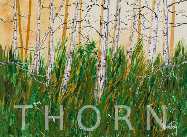 """WHITE BARK TREES    Click on image for size and material options.   Prints Available from $45 - $360  Acrylic on Canvas, 30""""W x 22""""H  Original Art for Sale $2,360  2017  Artist: Karen Thornberg"""