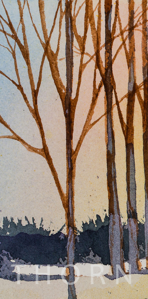 WINTER    Click on image for size and material options.   Prints Available from $76 - $360  Authentic Watercolor on Archival Paper  2017  Artist: Karen Thornberg