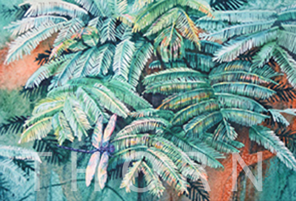 """DRAGONFLY IN FERNS    Click on image for size and material options.   Prints Available from $27 - $310  Authentic Watercolor on Archival Paper  Original Art 20""""w x 16""""h  Original Art Sold  2012  Artist: Karen Thornberg"""