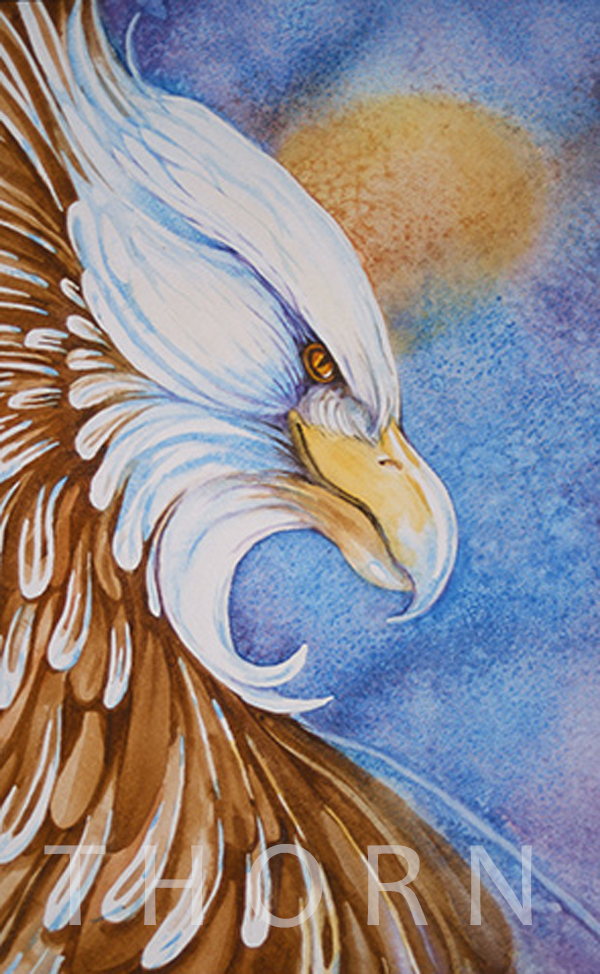 "EAGLE    Click on image for size and material options.   Prints Available From $89 - $195  Watercolor 13""w x 20""h  2001  Original Art Sold  Artist: Karen Thornberg"