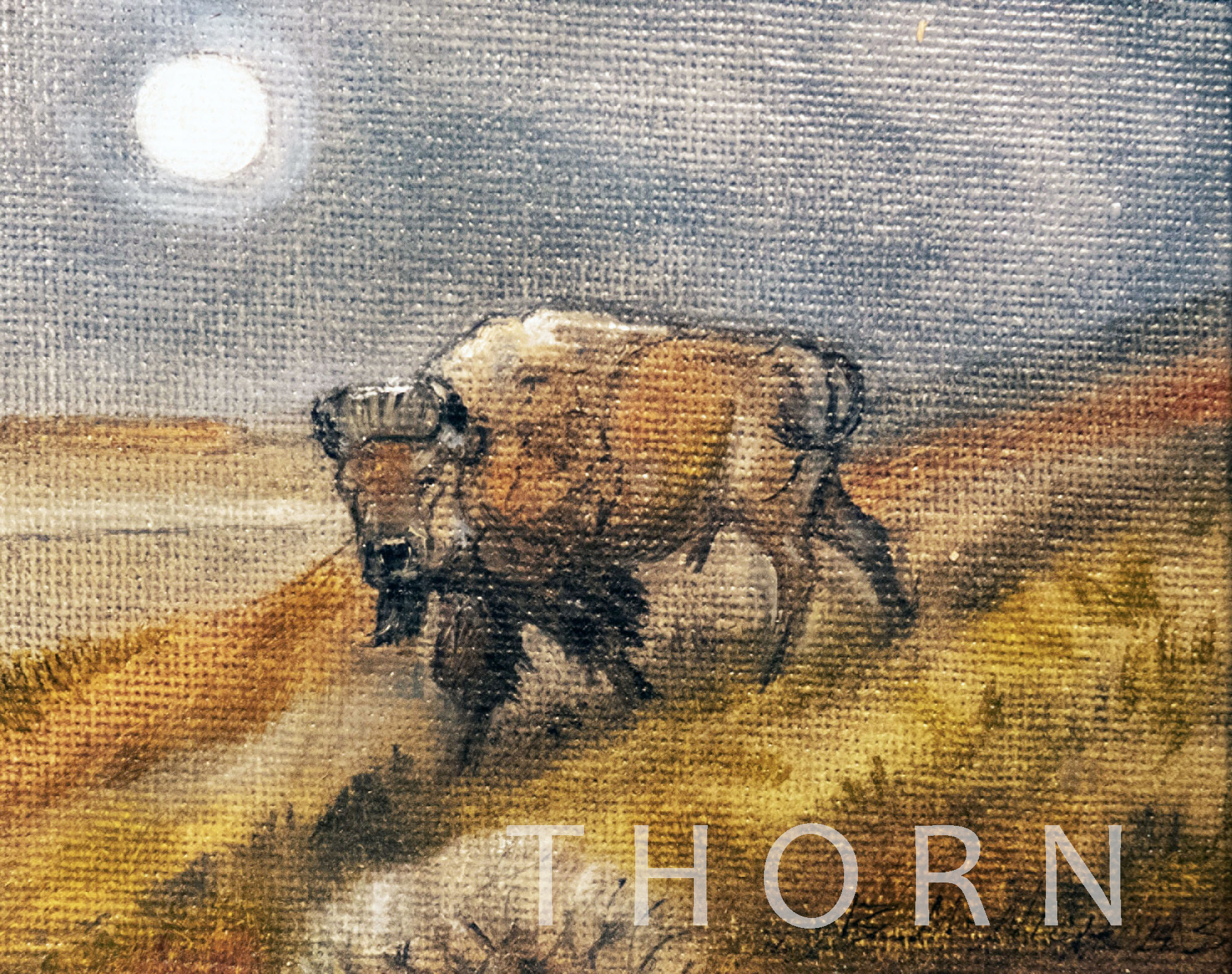 "BISON AND MOON    Click on image for size and material options.   Prints Available From $27 - $125  Acrylic 2006  Original 4""w x 5""h  Artist: Brian McNicholas"