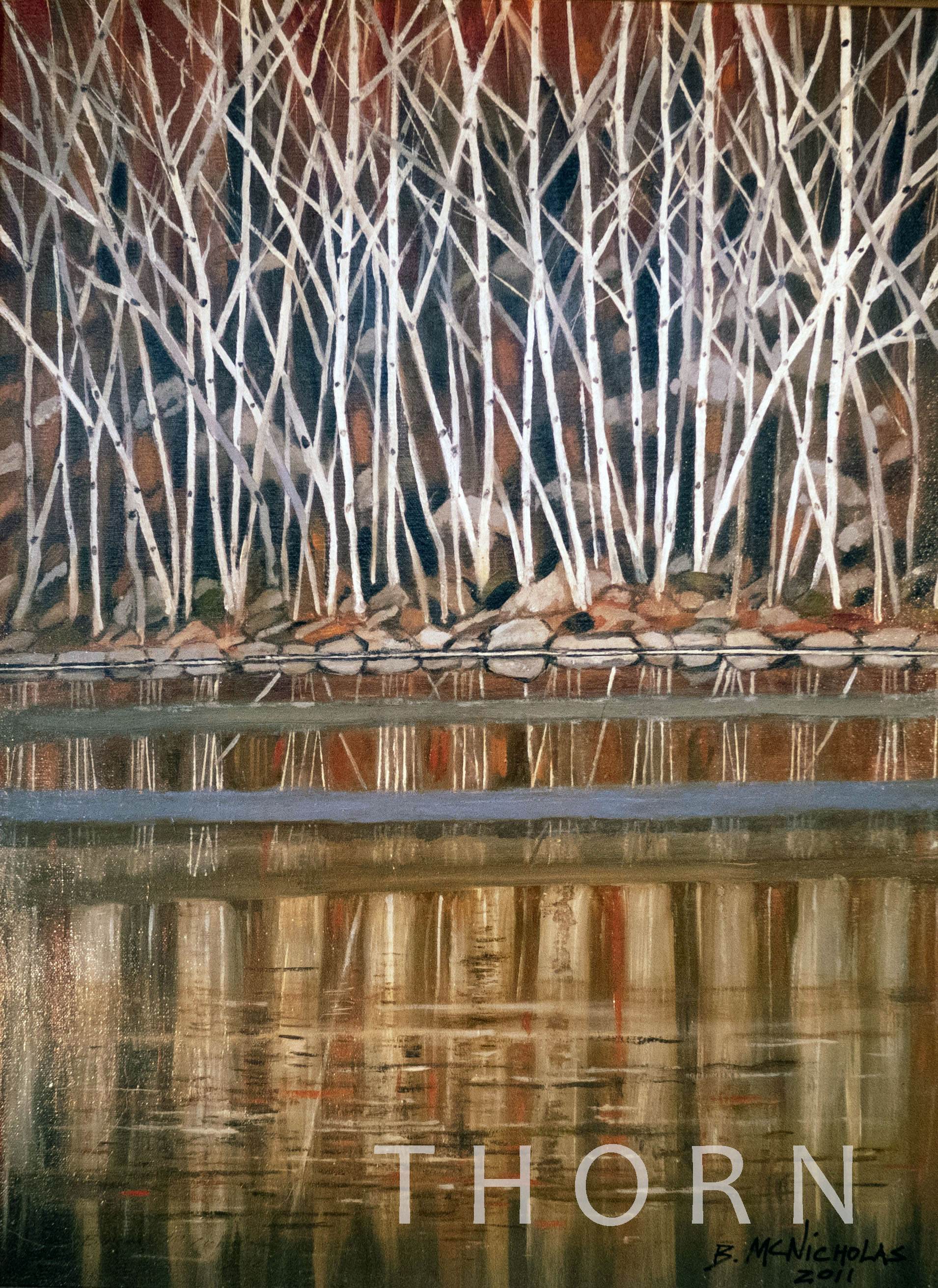 """BIRCH TREES    Click on image for size and material options.   Prints Available from $27 - $345  20""""W x 40""""H  Artist: Brian McNicholas"""