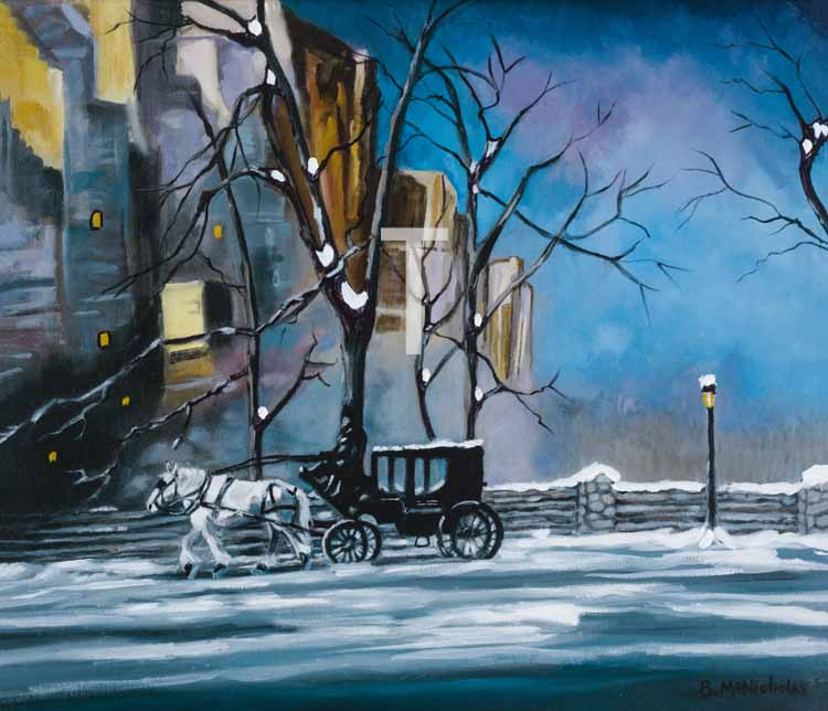 """CARRIAGE IN CENTRAL PARK 1805    Click on image for size and material options.   Prints Available from $27 - $345  Authentic Oil, 30""""W x 22""""H  2011  Artist: Brian McNicholas"""