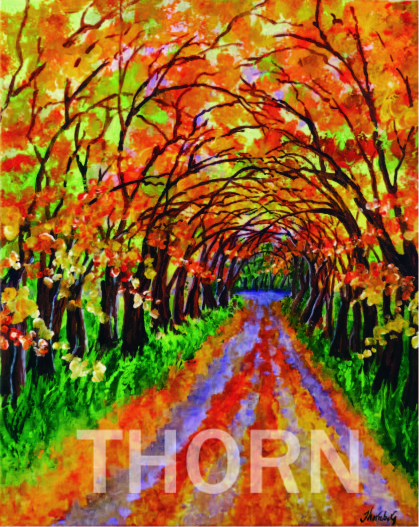 """FALL ARRIVES    Click on image for size and material options.   Prints Available from $29 - $360  Acrylic on Canvas, 16""""W x 20""""H  Original Art for Sale $900  2017  Artist: Karen Thornberg"""
