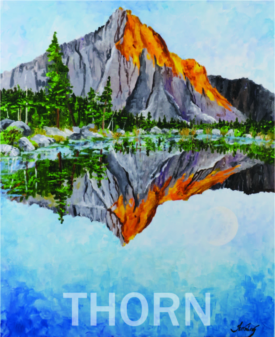 MOUNTAIN LAKE    Click on image for size and material options.   Prints Available from $39 - $500  Acrylic on Canvas  Original Art for Sale $1,500  2017  Artist: Karen Thornberg