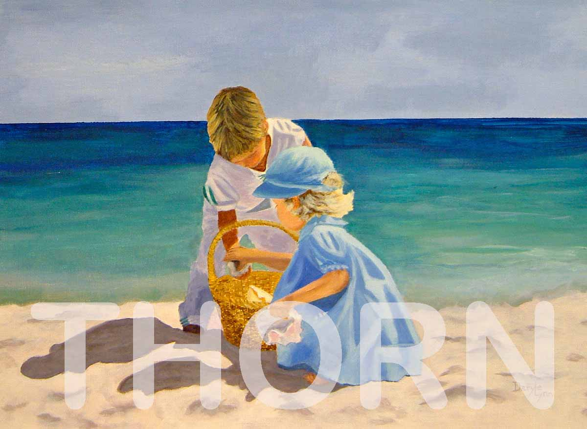 "BEACH DAY PLAY    Click on image for size and material options.   Prints Available from $27 - $310  Authentic Oil 20""w x 16""h  Original Art For Sale $495  2006  Artist: Daryle Lynn Cornelison"
