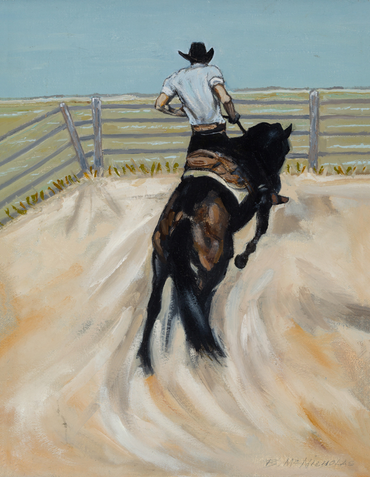 "BRONC RIDER    Click on image for size and material options.   Prints Available From $27 - $345  Acrylic 2006  Original 20""w x 16 ""h  Artist: Brian McNicholas"