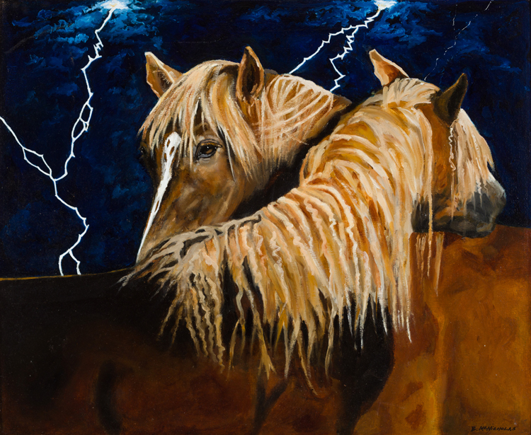 "MUSTANGS IN A LIGHTNING STORM    Click on image for size and material options.   Prints Available From $27 - $345  Original Oil 24""w x 18 ""h  Artist: Brian McNicholas"