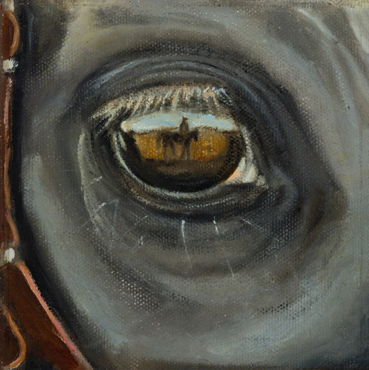 "REFLEXION OF COWBOY IN HORSES EYE    Click on image for size and material options.   Prints Available From $45 - $195  Oil 2009  Original 6""w x 8""h  Artist: Brian McNicholas"