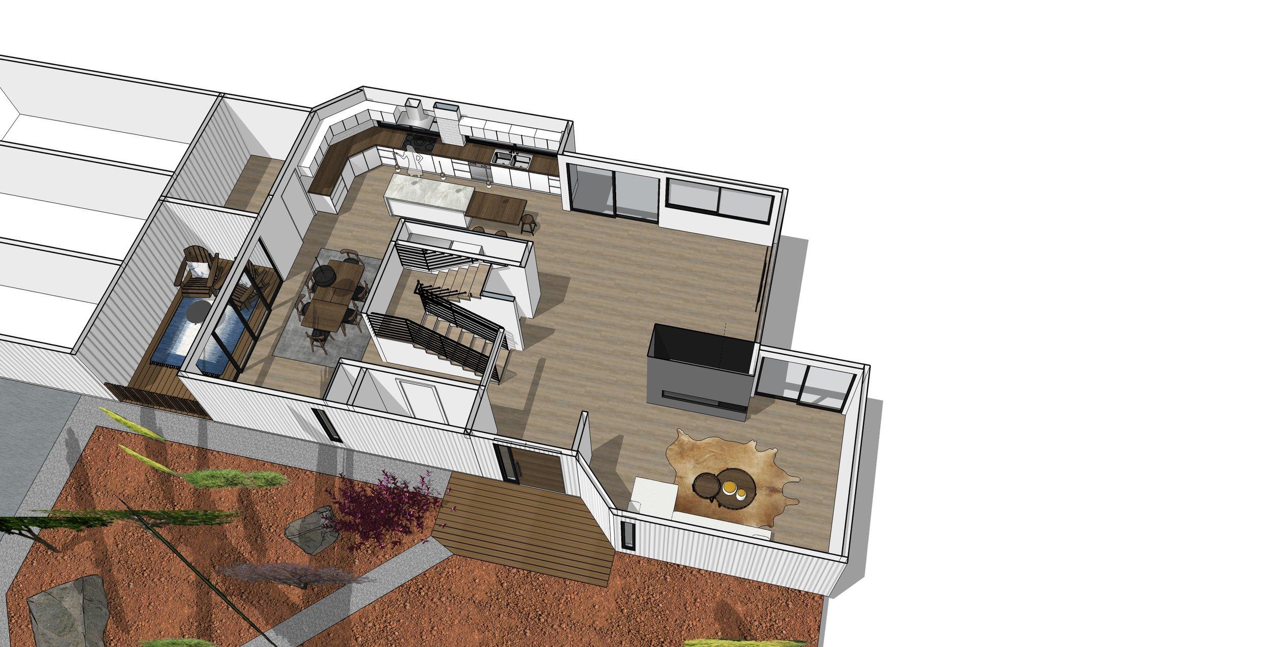 Axon View Of Bellevue House Remodel Plan