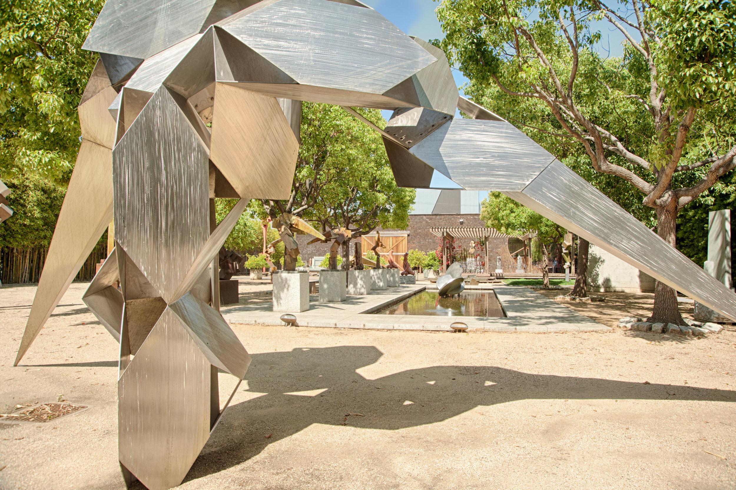 Beasley's private compound sculpture garden.