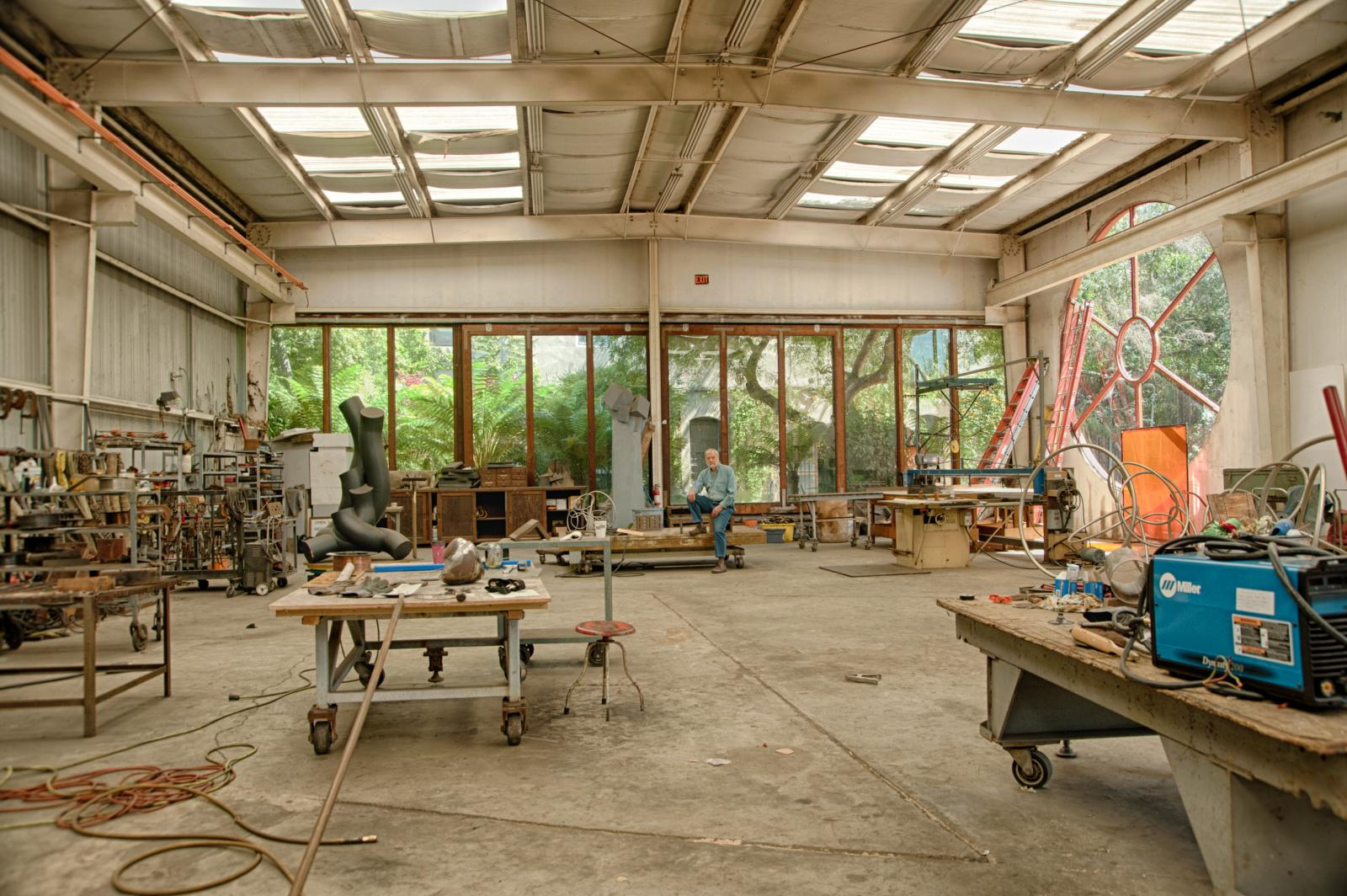 Bruce in his large studio building on Lewis at The Prescott Park.