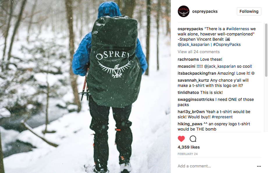 Osprey Instagram Feature  - https://www.instagram.com/p/BQ6f2DeB2E4/?taken-by=ospreypacks