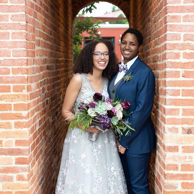 Congratulations to Jazmine & Tori on typing the knot this weekend! So much fun working with the both of you on your wedding planning!  Wedding planning: @rebeccathomasevents |  Floral Bouquet: J Starr's Flower Barn |  Photography: Katherine Sevon Photography |  Venue: Eastern Shore Conservation Center |  Caterer: Piazza Italian Market #easternshorewedding  #marylandweddings #love #wedding