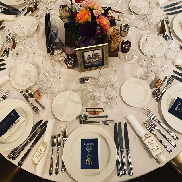 Love the details of this rehearsal dinner, especially the passport menus stamped with countries the bride and groom have visited!  Planning: @rebeccathomasevents  Venue: @scossa_restaurant