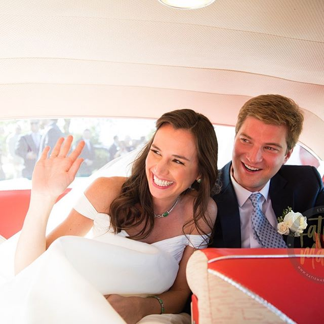 A grand exit in an elegant ride? YES Please!  Photo Talent: @katiemartinstudio |  Wedding Planning: @rebeccathomasevents |  Beauty: @ariellewisllc |  Floral: @seaberryfarm
