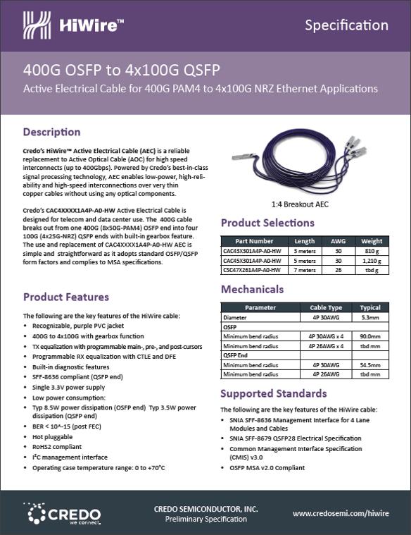 400G OSFP PAM4 to   4 x  100G QSFP28 NRZ