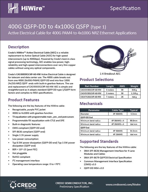 400G QSFP-DD PAM4 to   4 x  100G QSFP28 NRZ (Type 2)