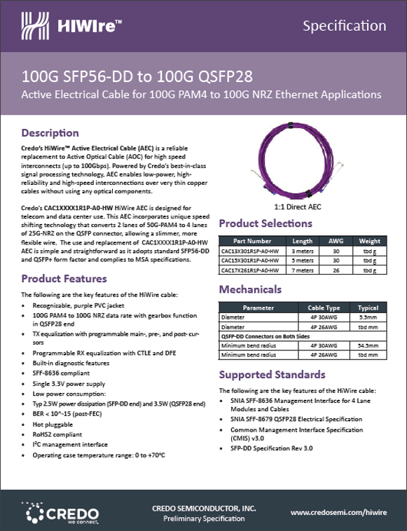 100G SFP 56 DD PAM4 to  100G QSFP 28 NRZ