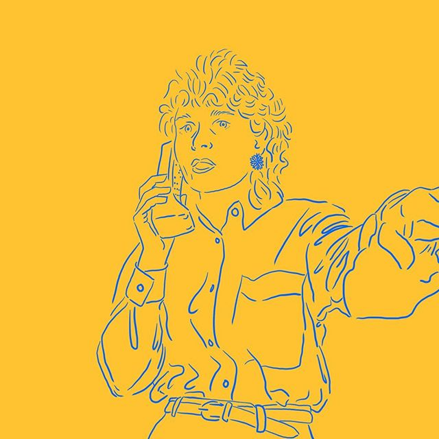My mom and uncle prank called me tonight so here's a drawing of her on the phone in the 90s angrily shooing away whoever took this pic