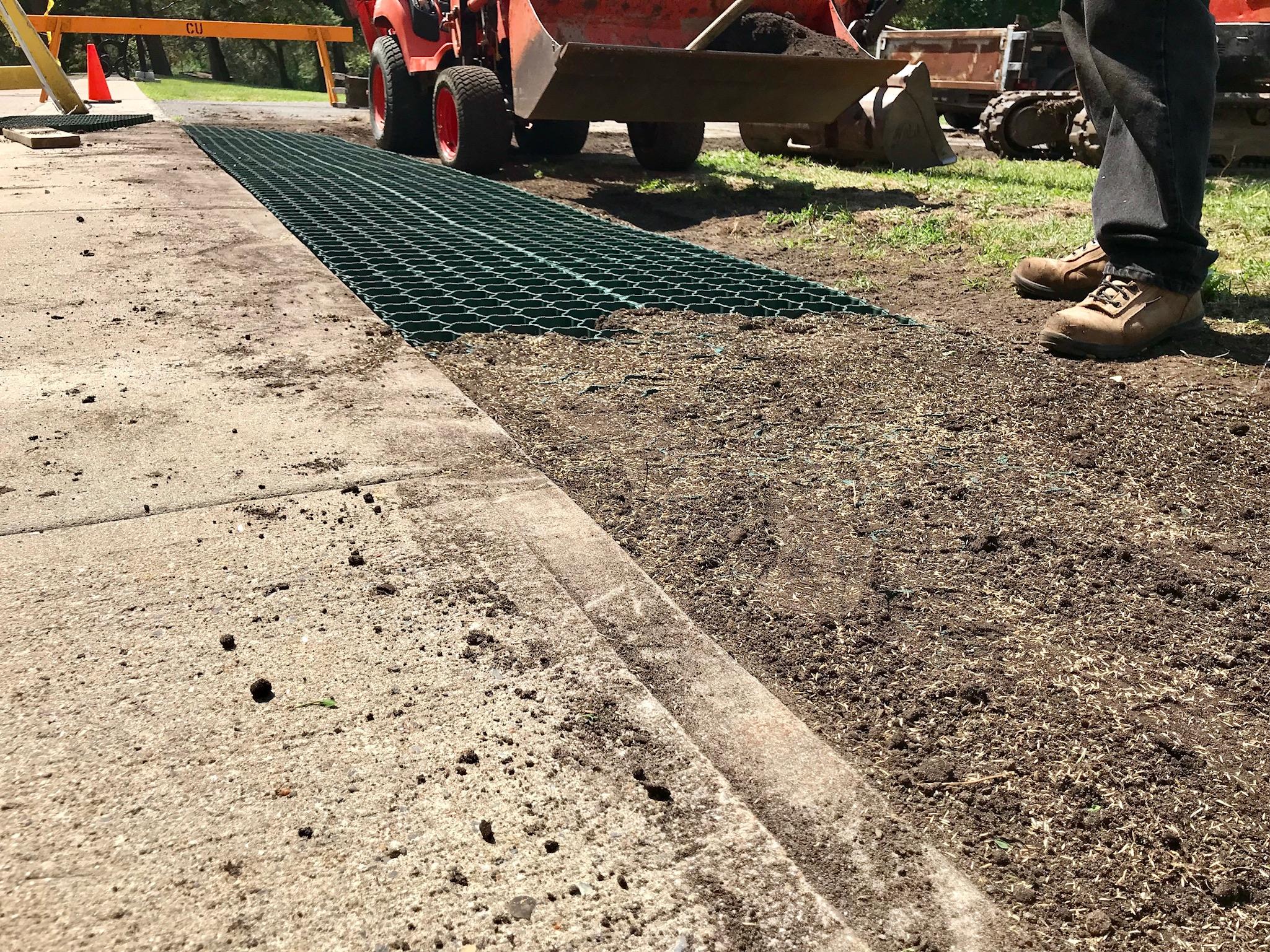 Soft-shoulder reinforcement finished in Grass at Carleton University, Ottawa 2018