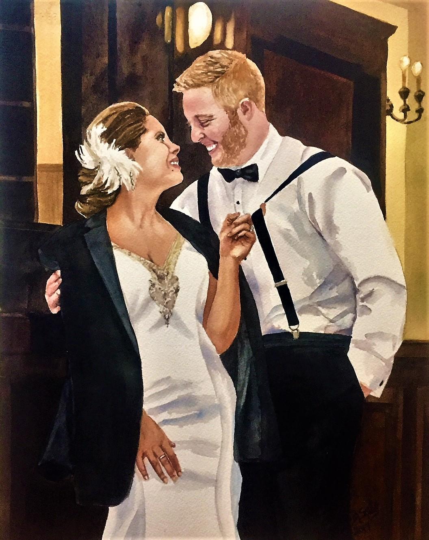 Custom watercolor wedding portraits from photos Reno Lake Tahoe Nevada