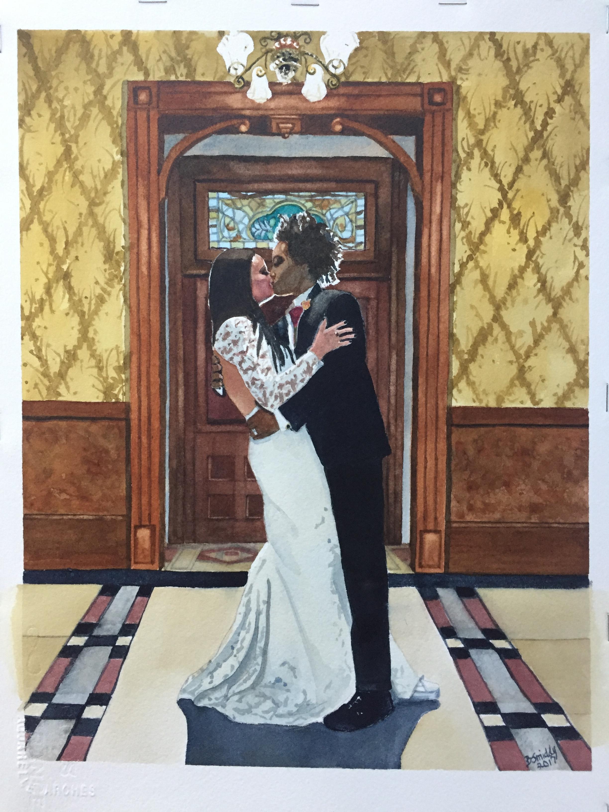 Custom watercolor wedding  portraits from photos
