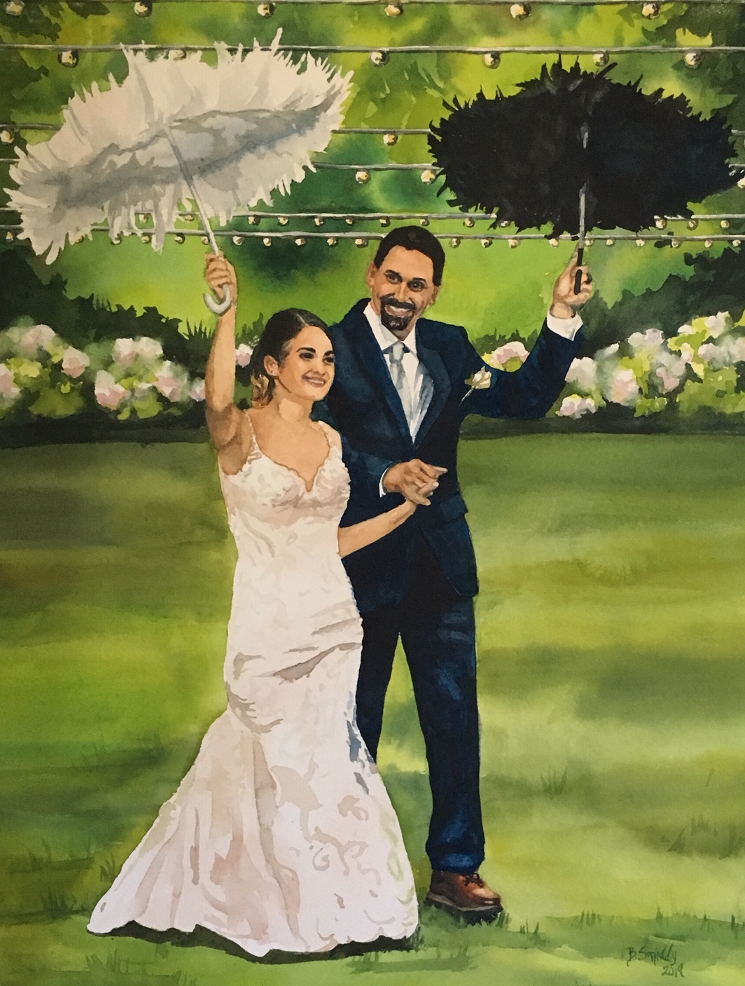 Custom wedding portrait watercolor painting. Romantic gift for wife, husband, 1st year wedding anniversary gift paper