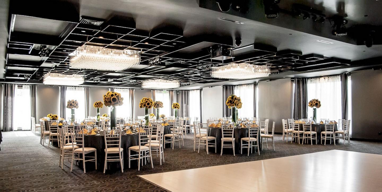 Geometric elegance adorns the ceiling of our upstairs Black Ballroom here at vertigo event venue