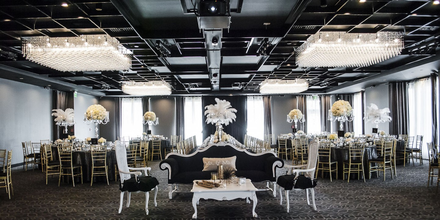 Custom chandeliers are the icing on this rooms cake. The black banquet room at vertigo never fails to impress.