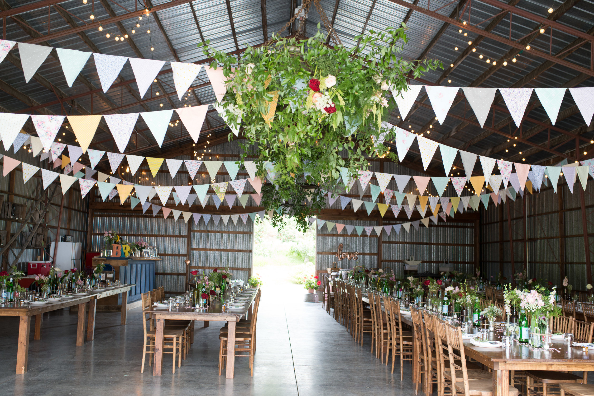 A hanging wild garden! Greenery and floral chandelier.