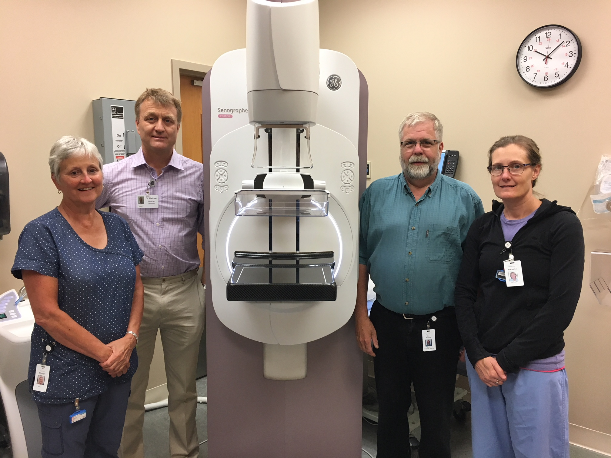 Featured in photo from left: Wendy Scott, Senior Mammography Technologist, Dr. Matthew Vaughan, Chief of Radiology, Ian Moffat, Director of Diagnostic Imaging and Jennifer Fudge, Diagnostic Imaging Technologist.Photo by Robert Washburn
