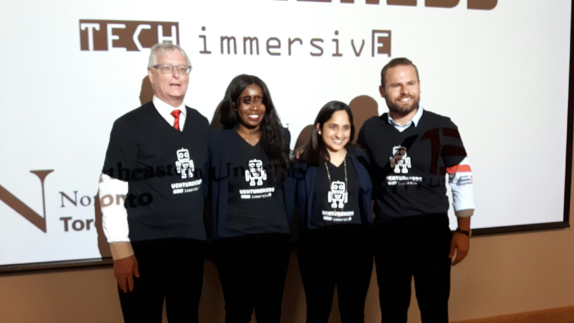 From left: Cobourg Mayor John Henderson, Northeastern University regional dean and chief executive officer Aliza Lakhani, tech entrepreneur and St. Mary Secondary School alumna Takara Small and Northumberland-Peterborough South MPP David Piccini