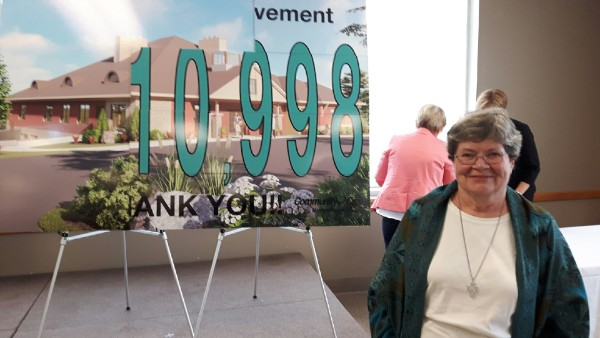 Sister Theresa Ryan represented the Sisters of St. Joseph in helping to unveil the final fundraising campaign total for the Ed's House Northumberland Hospce Care Centre at this week's celebration event.
