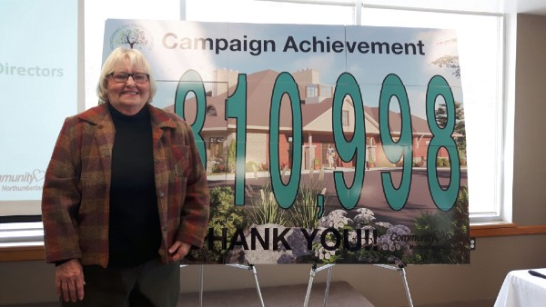 Diane Lorenz – who, with husband Ed, donated the single-biggest source of funding for the new Ed's House Northumberland Hospice Care Centre at $1.5-million - helped to unveil the final fundraising campaign total at this week's celebration event.