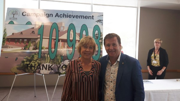 Kym and Brian Read, after whom the Ed's House Northumberland Hospice Care Centre hospice-care wing will be named, Dr. Bill Harris and his wife Penny, a long-time hospice volunteer, helped to unveil the final fundraising campaign total at this week's celebration event.