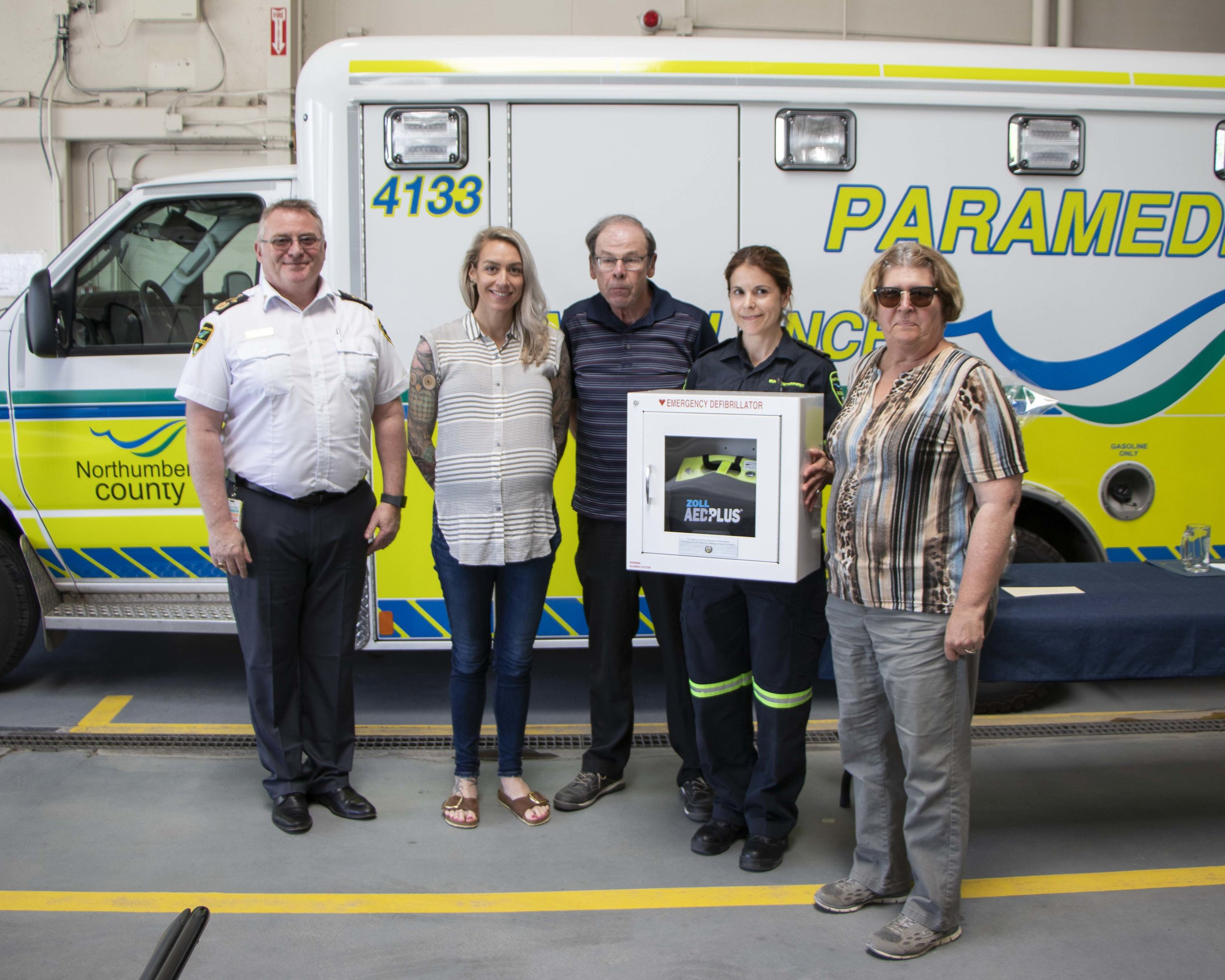 From left: Northumberland Paramedics Chief Bill Detlor, paramedic Giselle Philip, Phil Kift of the Centreton Community Centre, paramedic superintendent Marcelle Johnson and Edith Kift of the Centreton Community Centre