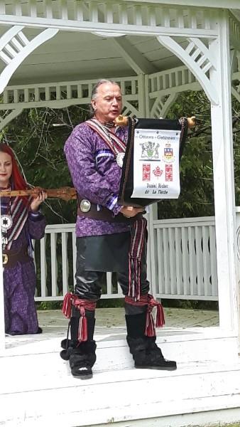 Daniel de la Fleche in action (with Julie Dudley holding the ceremonial staff