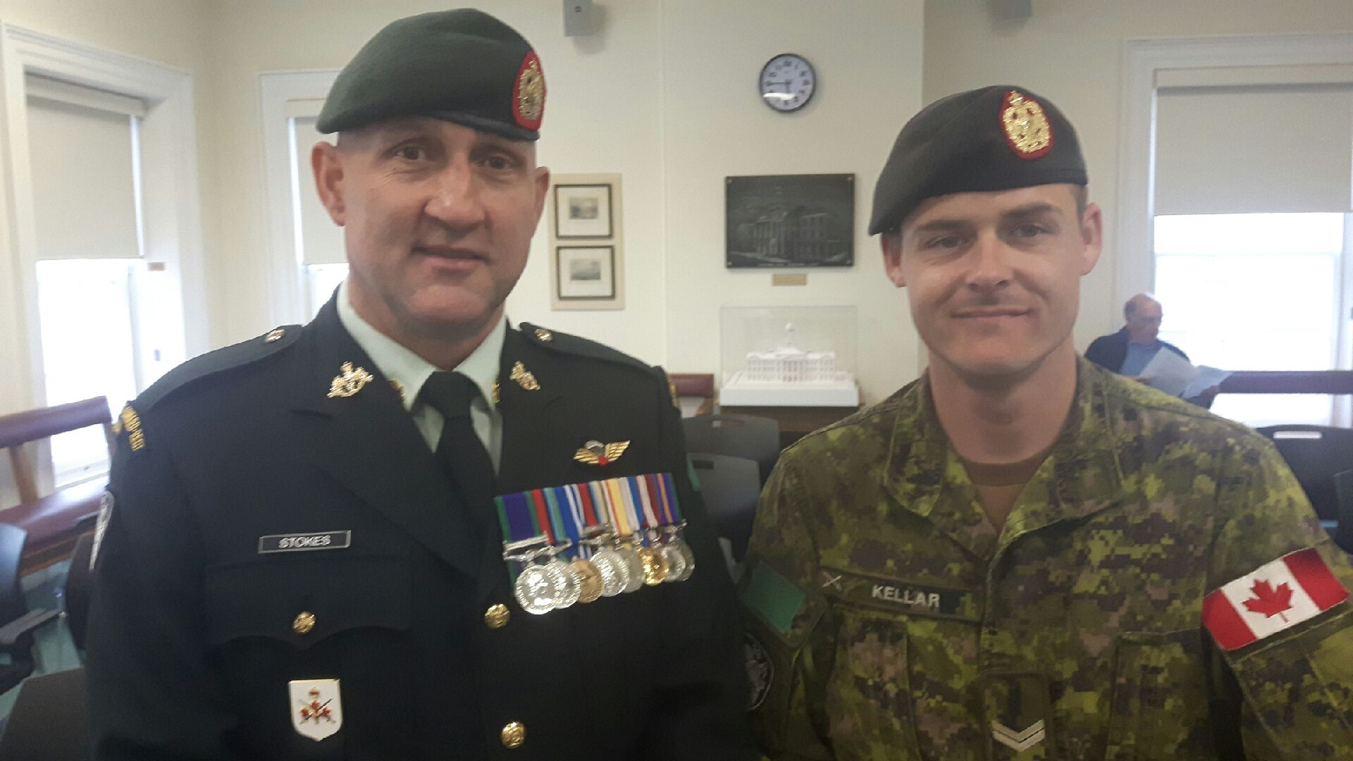 Chief Warrant Office Dean Stokes (Regimental Sergeant Major) and Corporal Chad Kellar (Cobourg Recruiter) with the Hastings and Prince Edward Regiment
